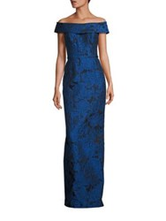 Rickie Freeman For Teri Jon Off The Shoulder Floral Jacquard Gown Blue