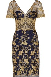 Marchesa Notte Sequined Embroidered Tulle Dress Midnight Blue