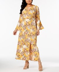 Ny Collection Plus And Petite Plus Size Printed Keyhole Maxi Dress Mustard