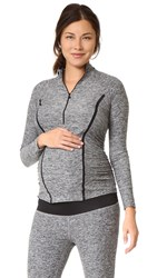 Beyond Yoga Featherweight Maternity Half Zip Pullover Black White