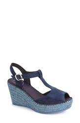 Women's Toni Pons 'Lidia' T Strap Espadrille Wedge Navy Suede