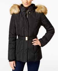 Jones New York Faux Fur Trim Belted Down Coat Black