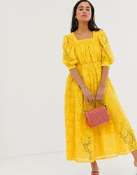 Sister Jane Midaxi Smock Dress In Lace Yellow