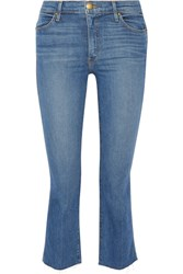 The Great Nerd Cropped Frayed Mid Rise Flared Jeans Mid Denim