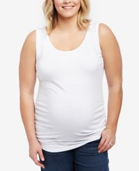 Motherhood Maternity Plus Size Ruched Tank Top White