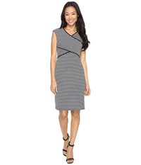 Calvin Klein Striped Panel Dress Black White Stripe Black White Women's Dress Gray