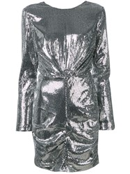 Msgm Longsleeved Sequin Dress Silver