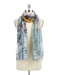 Lord And Taylor Map Print Scarf Grey