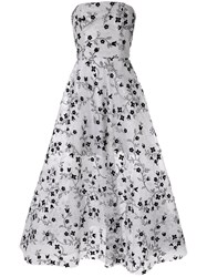 Bambah Embroidered Strapless Gown Silver