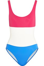 Solid And Striped Open Back Printed Swimsuit Multi