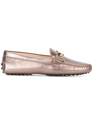 Tod's Double T Loafers Women Leather Rubber 36.5 Brown