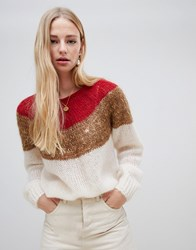 Intropia Colourblock Yoke Jumper Combo Ivory Multi