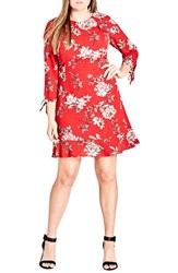 City Chic Plus Size Women's Scarlet Floral Fit And Flare Dress Wild Floral