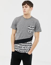 Another Influence Diagonal Cut And Sew T Shirt Gray