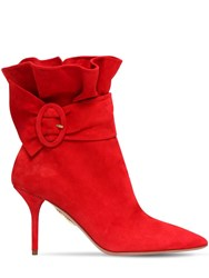 Aquazzura 85Mm Palace Ruffled Suede Ankle Boots Red