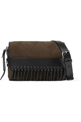 3.1 Phillip Lim Bianca Small Fringed Suede And Leather Shoulder Bag Black Brown