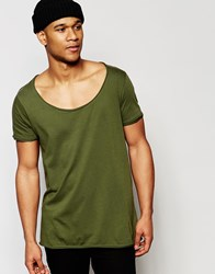 Asos Longline T Shirt With Wide Scoop Neck And Raw Edge In Green Winter Moss