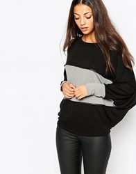 Wal G Oversized Stripe Jumper With Pu Trims Blackgrey