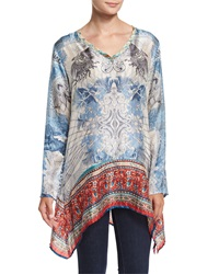 Johnny Was Currency Print Silk Tunic