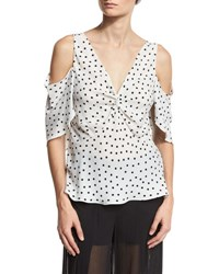 Mcq By Alexander Mcqueen Polka Dot Chiffon Cold Shoulder Top Ivory