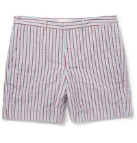Band Of Outsiders Striped Woven Cotton Shorts Blue