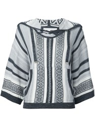 Veronica Beard Striped Hooded Jumper Grey