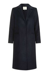 Topshop Wool Butted Seam Coat Navy Blue