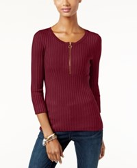 Inc International Concepts Zip Up Ribbed Sweater Only At Macy's Port