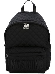 Moschino Quilted Backpack Neoprene Leather Black