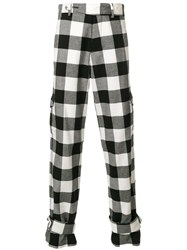 J.W.Anderson Gingham Check Cargo Trousers Cotton White