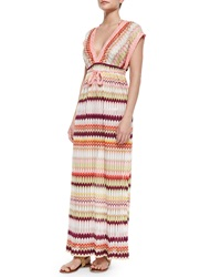 Missoni Mare Pointelle Detail Zigzag Print Maxi Caftan Dress Pink