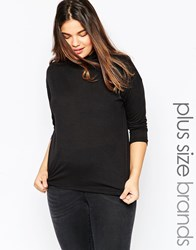 Brave Soul Plus Long Sleeve High Neck Top Black