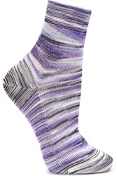 Missoni Striped Crochet Knit Socks Purple
