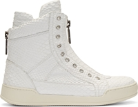 Dsquared White Snakeskin High Top Sneakers
