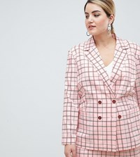 Unique 21 Hero Plus Unique21 Longline Double Breasted Blazer In Pink Check Co Ord Pink Check
