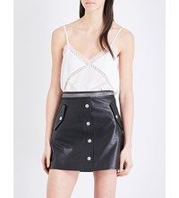The Kooples Lace Insert Silk Camisole Whi01
