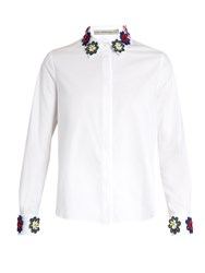 Mary Katrantzou Shane Floral Lace Embellished Collar Shirt White Multi