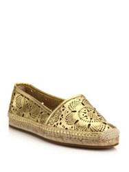 Burberry Hodgeson Laser Cut Metallic Leather Espadrille Flats Gold