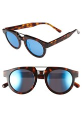 Spektre Women's 'Doppio Ponte' 47Mm Sunglasses Havanna Light Blue Mirror Havanna Light Blue Mirror