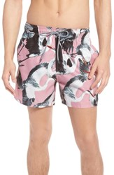 Ted Baker London Wingman Bird Print Swim Shorts Pink