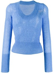 Jacquemus Ribbed Round Neck Sweater Blue