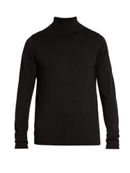 Sunspel Roll Neck Wool Sweater Black
