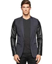 Calvin Klein Extra Slim Fit Faux Leather Sleeve Jacket