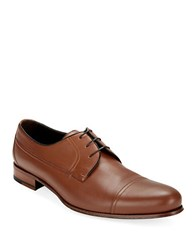 A. Testoni Cap Toe Leather Oxfords Caramel