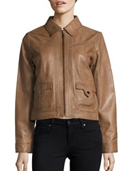 Bernardo Spread Collar Retro Leather Jacket Tobacco