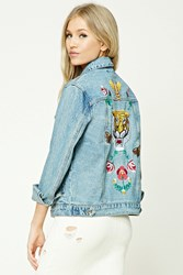Forever 21 Tiger Embroidery Denim Jacket Denim Red