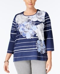Alfred Dunner Plus Size Uptown Girl Collection Striped Floral Print Top Navy