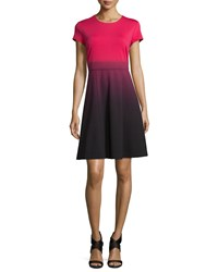 Carmen By Carmen Marc Valvo Cap Sleeve Fit And Flare Ombre Dress Pink Tea Black Women's Pink Tea W Blk D