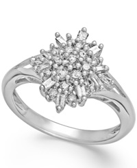 Macy's Diamond Flower Cluster Ring In Sterling Silver 1 2 Ct. T.W.