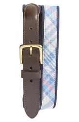 Vineyard Vines Men's Saba Rock Plaid Leather And Canvas Belt